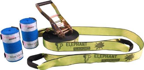 Elephant Slacklines Rookie Flashline inkl. Baumschutz, neon gelb, 15m, 12,5 m Slacklineband + 2,5 m Ratschenband, *Made in Germany*, Breite 50mm, für Anfänger, Einsteiger, inkl. 50 mm Standardratsche