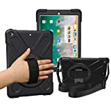 iPad 5th/6th Generation Cases with Hand Strap,Heavy Duty Rugged Protective Shockproof Cover with 360 Degree Rotating...