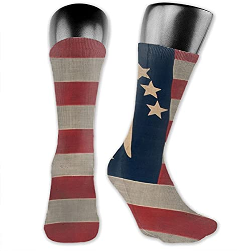 LAVYINGY 13 Estrellas Bandera Americana Calcetines de Baloncesto Hombres Mujeres Running Crew Calcetines Juvenil Niño Niña Senderismo Cojín Calcetines 30cm