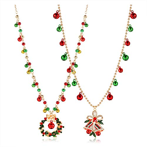 HZEYN Christmas Necklace for Women Christmas Bell Wreath Pendant Necklace Long Jingle Bell Chain Xmas Festive Necklace 2 Pieces