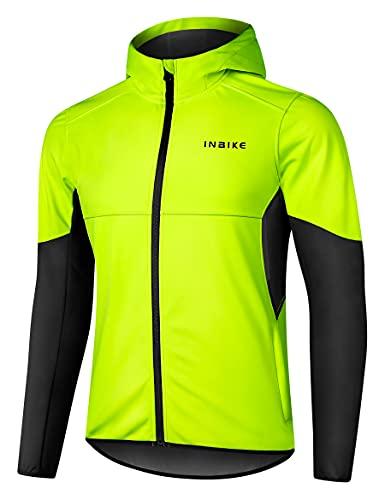 INBIKE Giacca da Ciclismo Invernali con Cappuccio Antivento Termica Impermeabile da Uomo per MTB Bici Running e Vita Quotidiana,L