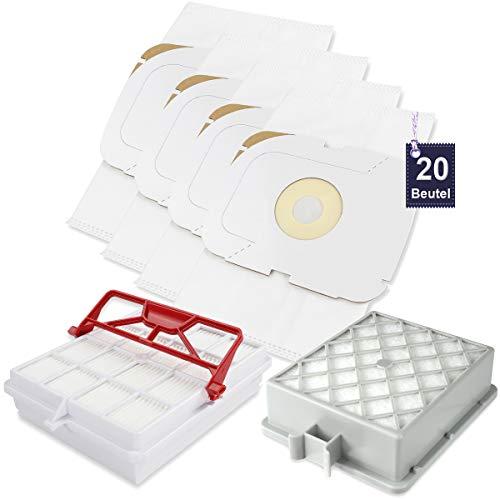 20 Vlies Staubsaugerbeutel Beutel Staubcontainer + 1 Hepa + 1 Hepa Carbon Filter passend für Lux Intelligence S115 Staubsauger