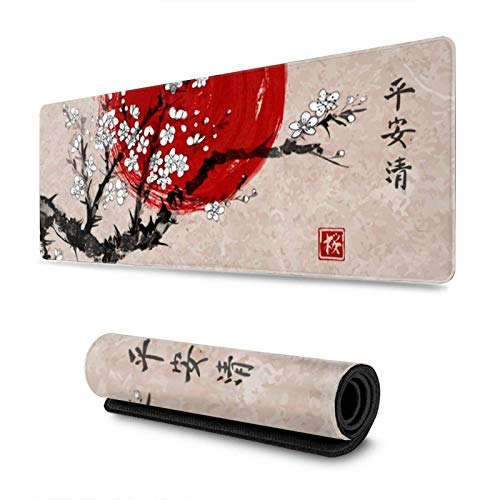 Vintage Japanese Sumi-E Red Sun Sakura in Blossom Gaming Mousepad XL Extended Large MouseMat Desk Pad Stitched Edges Mousepad Long Rubber Base Mice Pad 31.5 X 11.8 Inch