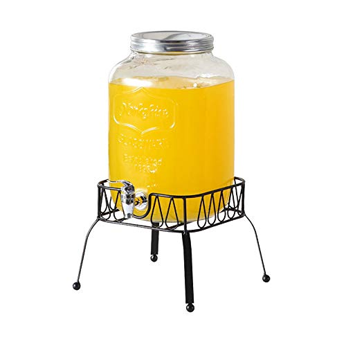 XINKAI Dispensador De Bebidas Dispensador De Cerveza DIY para El Hogar Jarra De Vidrio De Gran Capacidad con Grifo Dispensador De Agua con Soporte Tarro De Vidrio(Size:8L)