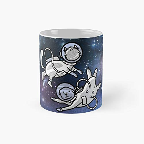 Space Buddies Dog And Cat Astronauts Classic Mug - 11 Ounce For Coffee, Tea, Chocolate Or Latte.