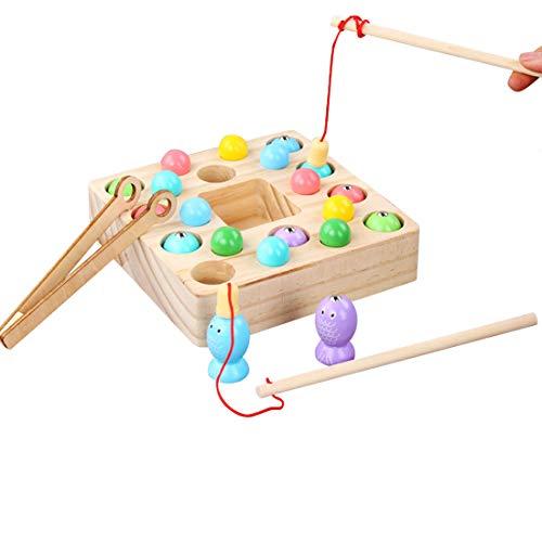 O Kinee 3 en 1 Juguete de Pesca, Montessori Bebe Madera Peces Juguete Magnetico Educación Puzzle Preescolares Juegos Pescado Pascua Viaje Regalos Cumpleaños para Niños 3 4