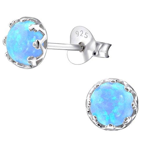 EYS JEWELRY Ohrstecker Damen rund 925 Sterling Silber Opal Azure Damen-Ohrringe