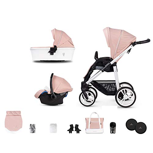 Venicci Pure 2.0 3 in 1 Travel System Lightweight Pram and Pushchair | 10pc Bundle of Car Seat, Carrycot, Rain Cover and More for Baby Smooth Riding from Birth Until 36 Months - Rose