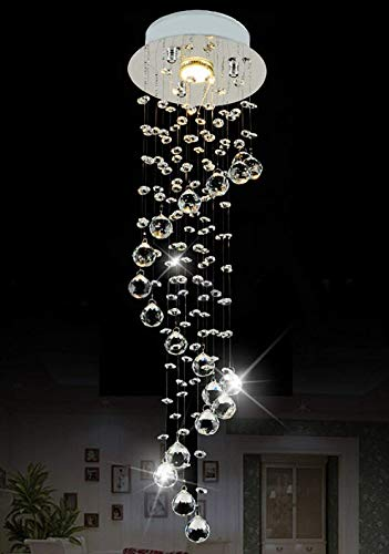 "Siljoy Raindrop Chandelier Lighting Modern Crystal Ceiling Lighting D7.9"" x H29.5"""