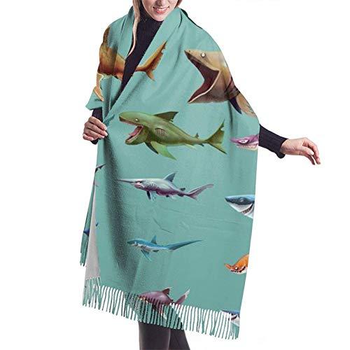 Cartoon Sharkcashmere Schal, Damen Soft Cashmere Wool Scarf Large Shawl