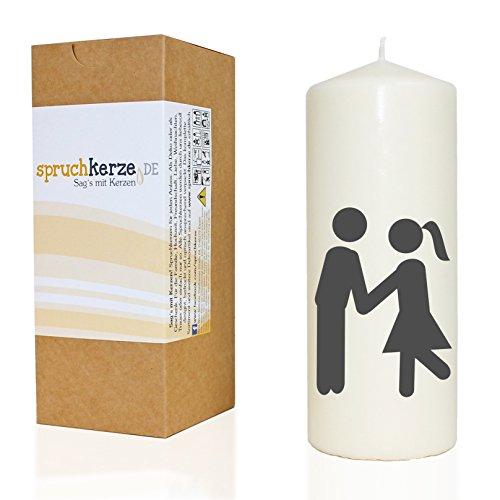 WB wohn trends Spruchkerze, Piktogramm Liebendes Pärchen Motiv 2, grau, 20cm, 680g d7,5cm, Kerze mit Spruch, Brenndauer ca 70 Std