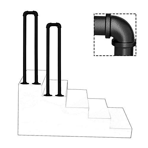 YFF-Handläufe Außentreppen Treppengeländer für Innen treppen Industrie Eingangsgeländer Matt-schwarz Handlauf Geländer Schmiedeeisen U-Typ Metall Rohr Brüstungsgeländer