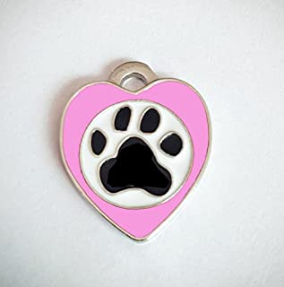 Polykor Useful Heart-Shaped Footprints Dog Tag Pet Pendant Color Paint Tag(Light Pink)