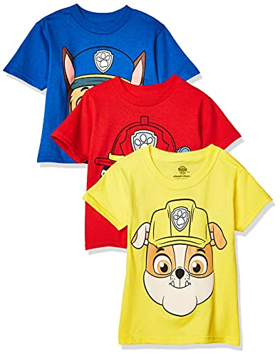 Nickelodeon Boys' Toddler Paw Patrol Pack of Three T-Shirts, Royal/Red/Yellow, 5T