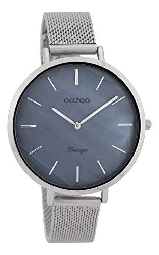 Oozoo Vintage Damenuhr Metallband 40 MM Graublau Perlmutt/Silberfarben C9390