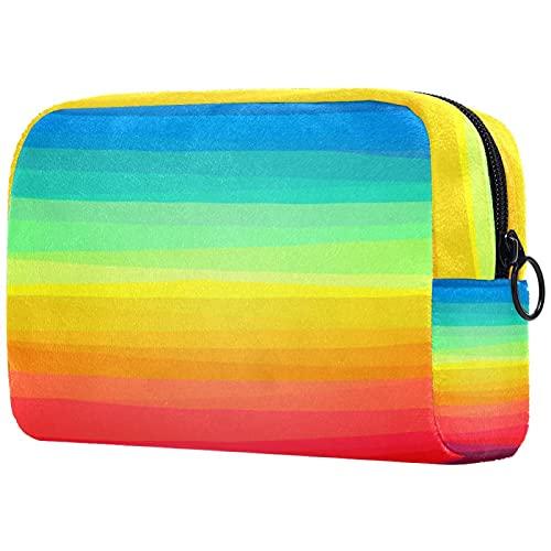 Neceser de viaje, bolsa de viaje impermeable, bolsa de aseo para mujeres y niñas, rayas de colores...