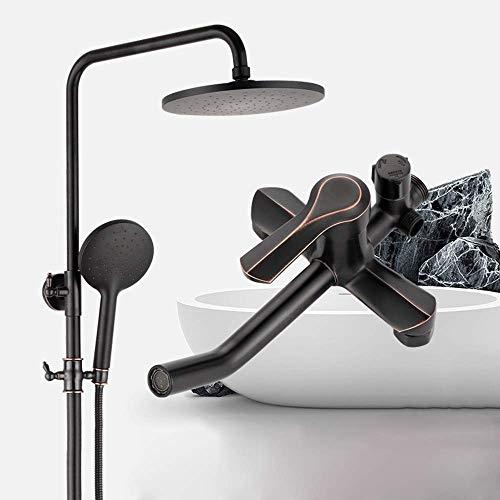 WEI-LUONG Baño Set de ducha de latón grifo de la ducha de 20 cm Round Top aerosol de la ducha de elevación del sistema 3 Modos Negro Hogar ducha caliente y fría Conjunto de suministro de agua Ducha Si