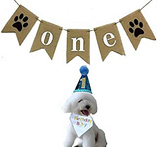 Alemon Dog 1st Birthday Party -ONE Banner Garland Frist Pet Birthday Hat -Dog Hat