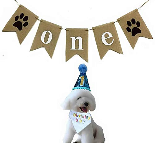 Dog First Birthday Boy Dogs 1st Puppy Party Supplies 3 Pack-ONE Burlap Banner Garland Paw Woof...