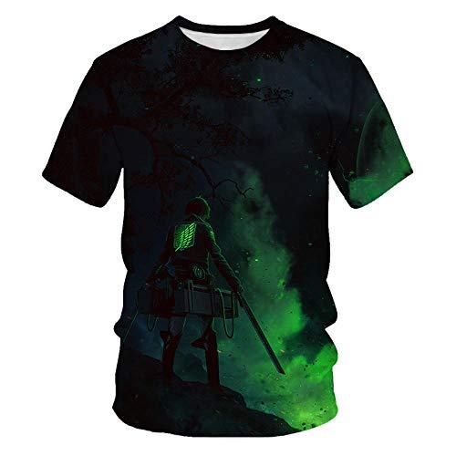 DHJI Attack On Titan Boys Girls Teens 3D Printed T Shirt Crewneck Summer Personalized Casual Short Sleeve Tee Shirts Tops Children's Short-Sleeve