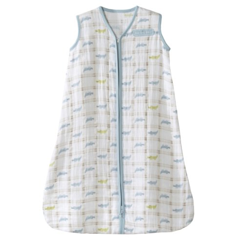 HALO 100% Cotton Muslin Sleepsack Wearable Blanket, Gator Plaid, Small