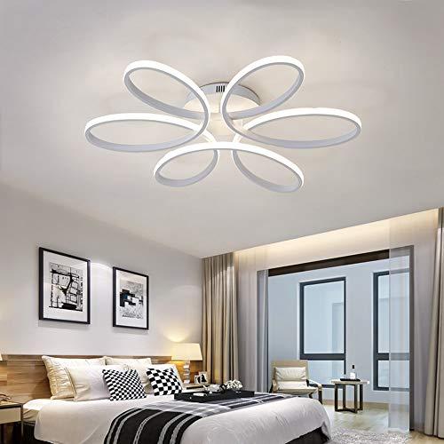 Luz de techo LED, lámpara de techo con forma de flor creativa de 85 vatios, pantalla de acrílico Lámpara de techo moderna y elegante de aluminio mate Lámpara de techo de la sala de estar del d