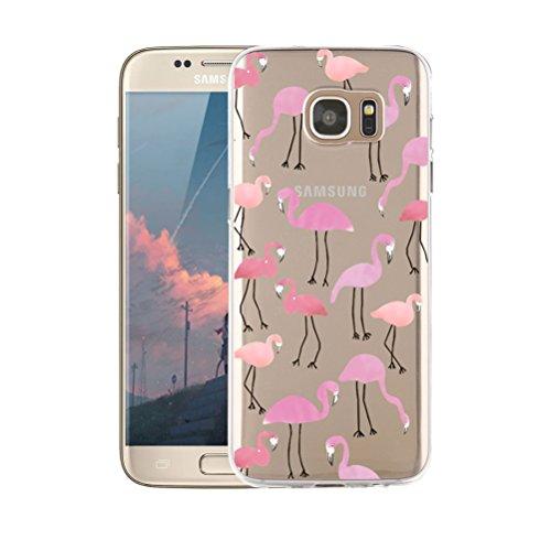 Funda Samsung Galaxy S7 Edge Transparente,Dibujos Animados, Anti-Rasguño, Resistente Huellas Dactilares Blossom01 Ultra Fina de Gel de Silicona TPU Carcasa Samsung Galaxy S7 Edge Caso (Flamenco)