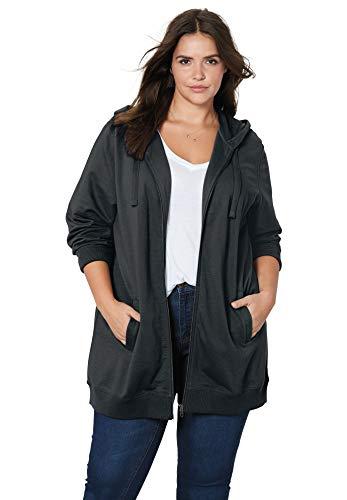 ellos Women's Plus Size Long Zip Front Hoodie - 3X, Black