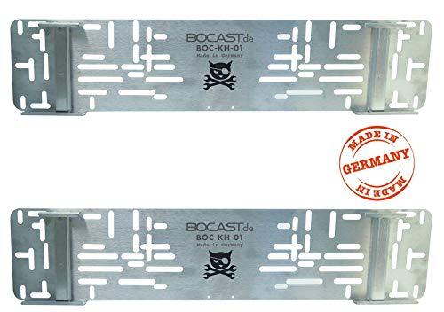 BOCAST Edelstahl Kennzeichen Schnellwechselhalter PKW 520mm Set (zwei Stück) für Österreich und Deutschland
