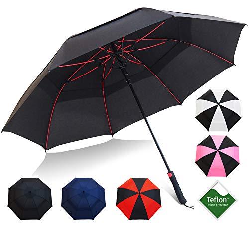 "Repel Umbrella Golf Umbrella - 60"" Vented Double Canopy with Triple Layered Reinforced Fiberglass Ribs and Teflon Coating, Auto Open (Black)"
