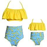 Rysly Womens Girls Halter Top High Waisted Bathing Suits Ladies Swimwear Bikinis Set Banana XL