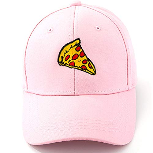 Home Fashion DIY Pepperoni Pizza Embroidered Dad Hat Adjustable Cotton Cap Baseball Cap for Men and Women (Pink Style 1)