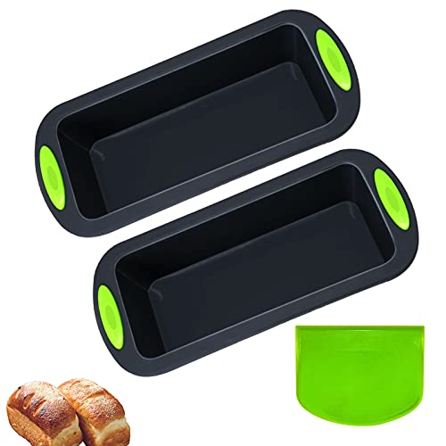 Silicone Bread and Loaf Pans - Set of 2 with a Flour scraper Professional No-Stick Bakeware for Homemade Baking Cakes and Bread, Safety Bread Loaf Pan (Dark gray)