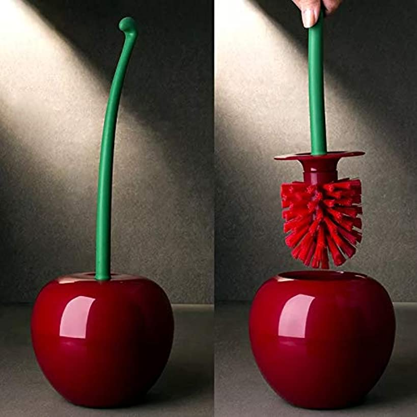 BlossomingLove Cherry Shaped Long Handle Toilet Curved Brush for Deep Cleaning