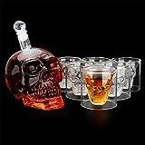ASY Decantador y Vasos de Vino de Copa de Calavera Diseño Transparente Botella de Cristal única Copa de Whisky Copas de Vino Suministros de Barra 1 Decantador de Vino de 700 ml y Vasos de 6 * 65 ml