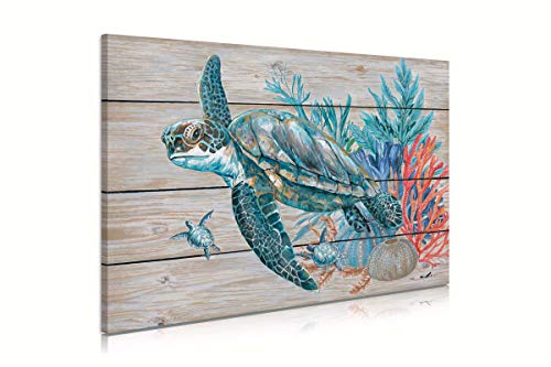 Teal Bathroom Decor Wall Art, Beach Turtle Swim Under the Ocean with Coral and Turquoise Seagrass on Rustic Wood Panel Background Sea Turtle Gifts for Women 16'x24' Framed and Ready to Hang