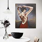 DCLZYF Nordic Modern Sexy Woman In Red Dress Posters Pictures Arte Moderno de la Pared Pintura en Lienzo Obra de Arte de Regalo para la decoración del hogar-50x60cm (sin Marco)