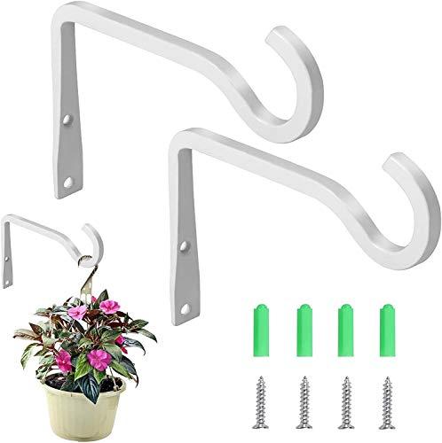 KSS Juego de 2 soportes para colgar en la pared, ganchos para colgar en la pared, para jardín, césped, luz de flores, comederos de pájaros, farolillos de viento (2 unidades) (blanco)