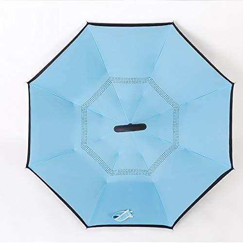 Creative Double-Layer Hands-Free 8-Bone Reverse Paraplu, Outdoor Shade Mountaineering Vrije tijd Lange Handvat Paraplu Dubbele Ribs Hebben Betere Wind Weerstand Comfortabele Grip 8K Blauw