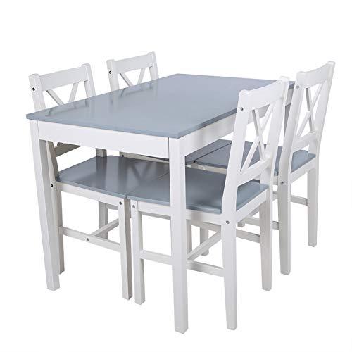 Meubles de Cuisine, Table et Chaises Élégantes à Manger, 1 Table et 4 Chaises, Table à Manger pour Le Salon, Cuisine, Terrasse, Meubles de Cuisine Modernes(Bleu Gris)