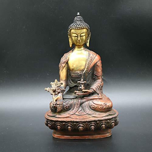NYKK Estatua Buda De Cobre Puro de Buda Estatua de Buda Shakyamuni Buda Estatua de Bronce de Bronce Talla artesanía Antigua colección Adornos Jardín Zen