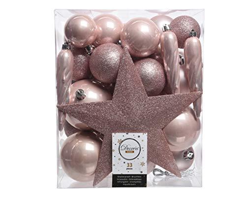 Christmas-Decorations 33er Set Kunststoff - Weihnachtskugeln Mix mit Sternspitze Rosa