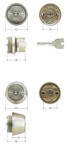 MIWA(美和ロック) U9シリンダー LIX(TE0)タイプ+LSP(TE24)タイプ 鍵 交換 取替え 2個同一セット MCY-403ステンレスへヤーライン色(ST)30〜40mm