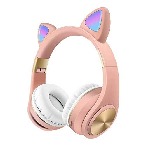 Komopesu Auriculares inalámbricos plegables con micrófono y control de volumen, compatibles universales para teléfonos inteligentes, ordenadores portátiles, PC TV (rosa)