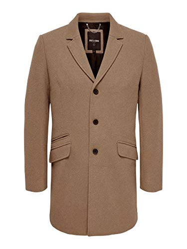 Only & Sons Onsjulian Solid Wool Coat Otw Abrigo, Beige (Camel Camel), Small para Hombre
