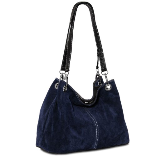 Caspar TL621 klassische Damen Wildleder Handtasche, Farbe:dunkelblau