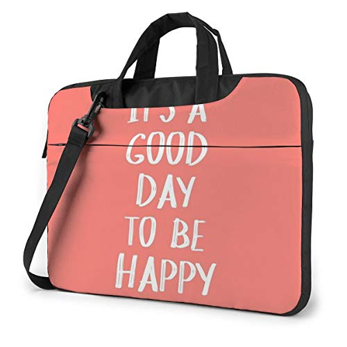 GenerticIt's A Good Day to Be Happy in CoralDurable Oxford Schouder Schokbestendig Laptop Bag Schouder Messenger Handtas Case Sleeve Compatibel