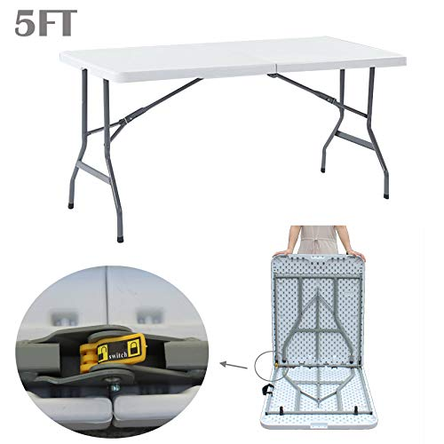 dicn electronic Steel Folding Camping Table Picnic Tables Foldable White 5FT Heavy Duty Outdoor Fold Away Portable 200kg Capacity Plastic Top with Clip & Carry Handle