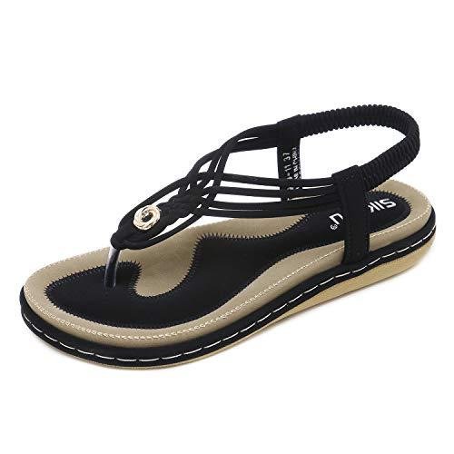 HAINE Damen Sandals, Frauen Sandalen Sommer Bohemian Strass Flach Sandaletten PU Leder Zehentrenner in Größe 36-44EU, Schwarz, 39EU -- CN40 -- 250mm