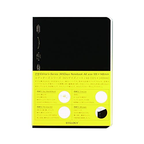 STALOGY 018 Editor's Series 365 days notebook (A6//Black) S4103 by STALOGY